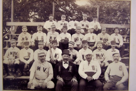 Teams representing the Mayor and Aldermen from Yonkers and Mount Vernon at a game played on Labor Day 1896.Courtesy of Bob Mayer.